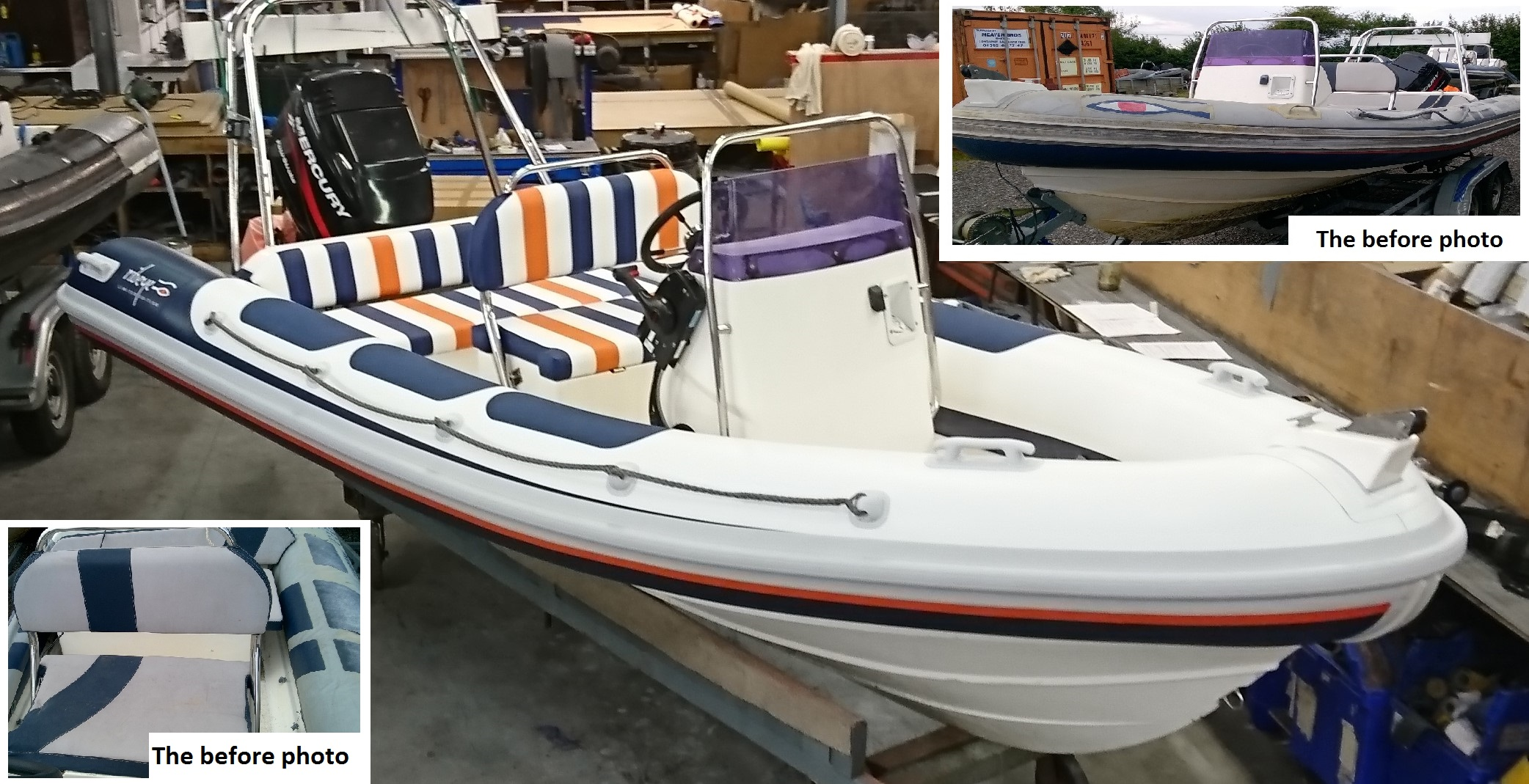 5 m Ribeye with new tubes and marine upholstery - the before and after pictures