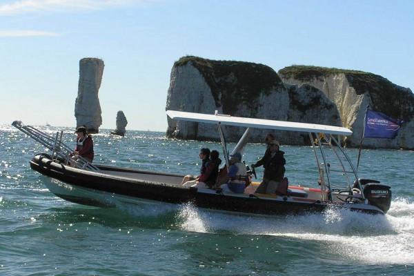 Explorer Marine Workboat near Sandbanks, Dorset