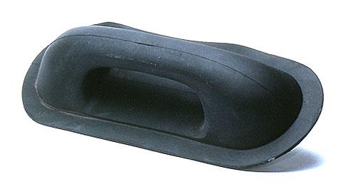 Rib Grab Handle Oval Black Rubber