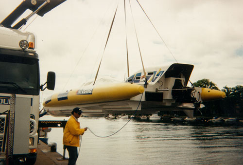 Rib Cat being lowered into water for sea trials