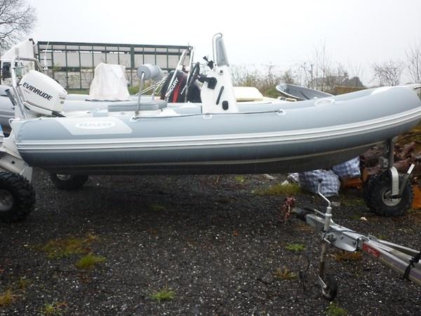 Sealegs amphibious RIB with hydraulic legs and wheels